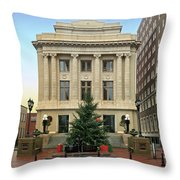 Courthouse At Christmas Throw Pillow