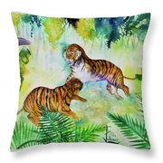 Courting Tigers. Throw Pillow by Larry  Johnson