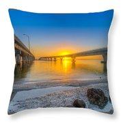 Courtney Campbell Bridge Sunrise - Tampa, Florida Throw Pillow