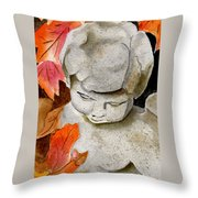Courtyard Cherub Throw Pillow