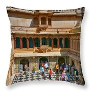 Courtyard, City Palace, Udaipur Throw Pillow