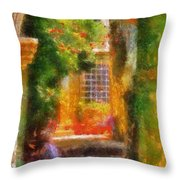 Courtyard In Cavtat Throw Pillow