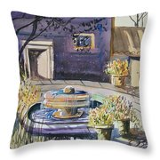 Courtyard In The Morning Throw Pillow