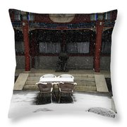 Courtyard In The Snow Throw Pillow