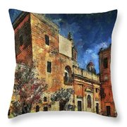 Courtyard, Mellieha, Malta Throw Pillow