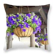 Courtyard Petunias Throw Pillow