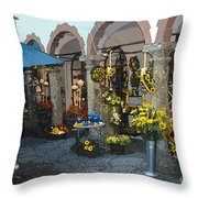 Courtyard Shop Throw Pillow