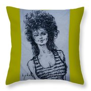 Cove Girl With Striped Shirt Throw Pillow