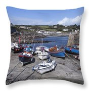 Coverack Harbour Cornwall Throw Pillow