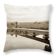Very Long Covered Bridge Over A River Throw Pillow