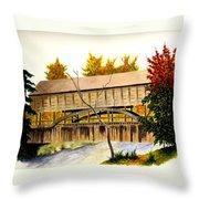 Covered Bridge - Mill Creek Park Throw Pillow