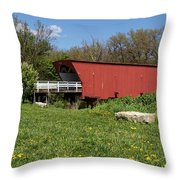 Covered Bridge Across The River Throw Pillow
