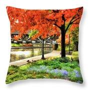 Covered Bridge Along Riverwalk Throw Pillow
