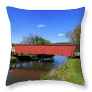 Covered Bridge And Reflection Throw Pillow