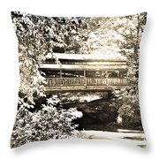 Covered Bridge At Lanterman's Mill Black And White Throw Pillow