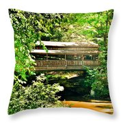 Covered Bridge At Lanterman's Mill Throw Pillow