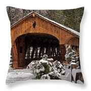 Covered Bridge At Olmsted Falls-winter-2 Throw Pillow