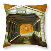 Covered Bridge Impasto Oil Throw Pillow