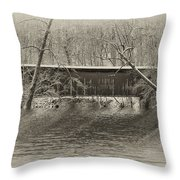 Covered Bridge In Black And White Throw Pillow