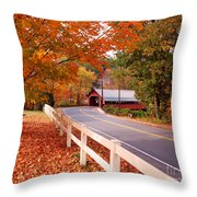 Covered Bridge In Brattleboro Vt Throw Pillow