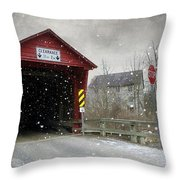 Covered Bridge In Logan Mills Throw Pillow