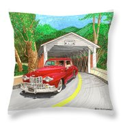 Covered Bridge Lincoln Throw Pillow