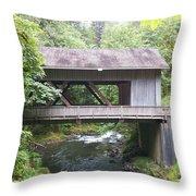 Covered Bridge Of Cedar Creek Throw Pillow
