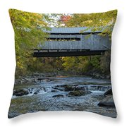 Covered Bridge Over Brown River Throw Pillow