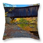 Covered Bridge Over The Cold River Throw Pillow