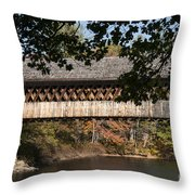 Covered Bridge Over The Contoocook River Throw Pillow