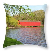 Covered Bridge Over The Lake Throw Pillow