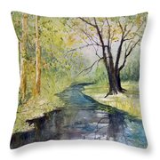 Covered Bridge Park Throw Pillow