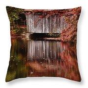 Covered Bridge Reflection Throw Pillow