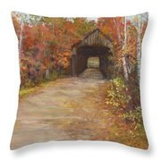 Covered Bridge  Southern Nh Throw Pillow by Jack Skinner