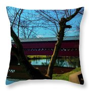 Covered Bridge Vivid Afternoon Throw Pillow