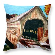 Covered Bridge Woodstock Vt Throw Pillow