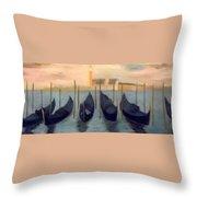 Covered Gondolas At Venice Throw Pillow