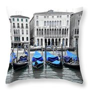 Covered Gondolas In Blue Throw Pillow