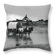 Covered Wagon River Ford And Cable Ferry 1903 Throw Pillow