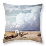 Covered Wagons Heading West Throw Pillow