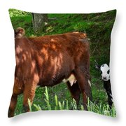 Cow And Calf Throw Pillow