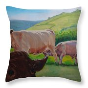 Cow And Calf Painting Throw Pillow