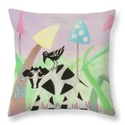 Cow And Crow In The Land Of Mushrooms Throw Pillow