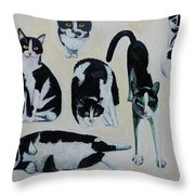 Cow Cats Throw Pillow