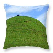 Cow Eating On Round Top Hill Throw Pillow
