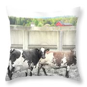 In The Future We Will Have No Cow Fence  Throw Pillow