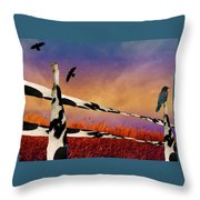 Cow Fence Throw Pillow