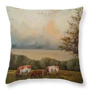 Cow Field Throw Pillow
