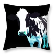 Cow In A Black World Throw Pillow
