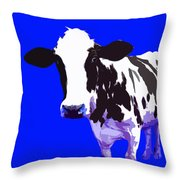 Cow In A Blue World Throw Pillow